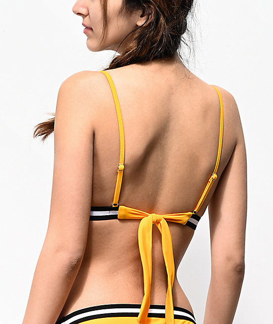 Malibu Finish Line Yellow Molded Triangle Bikini Top