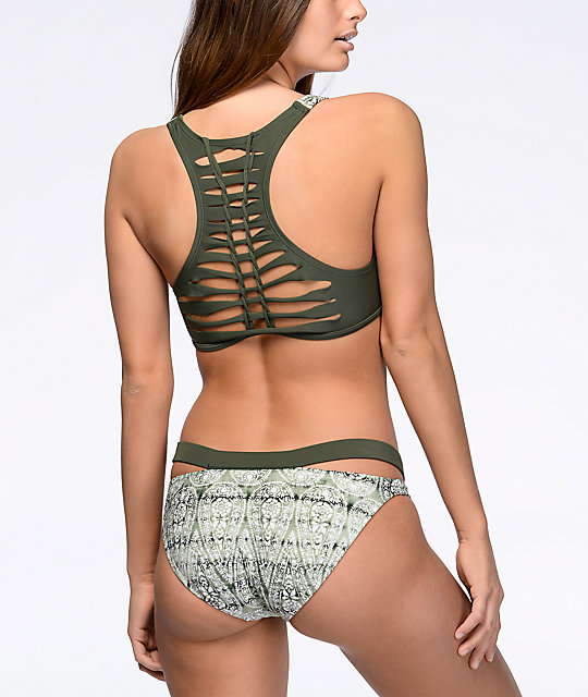 Malibu Gypsy Queen Olive Low Rise Hipster Bottoms
