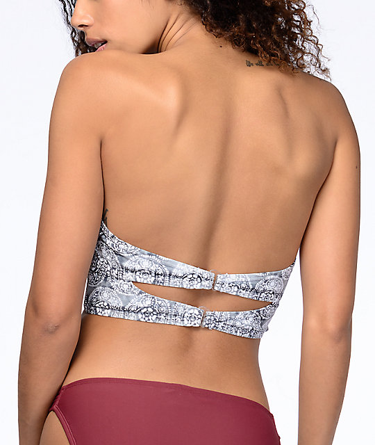 Malibu Gypsy Queen top de bikini push up en gris y color vino