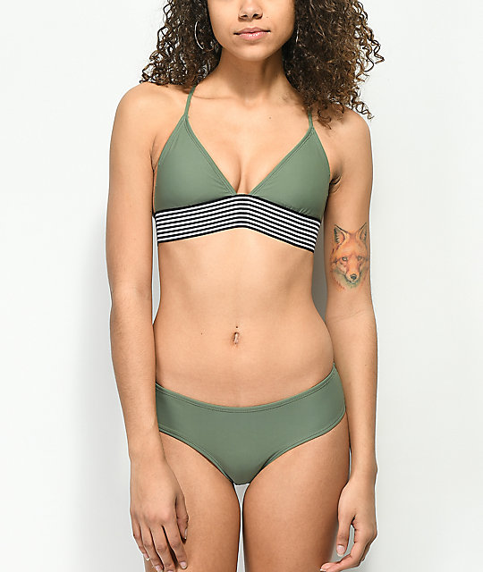 Malibu Olive Ruched Cheeky Bikini Bottom