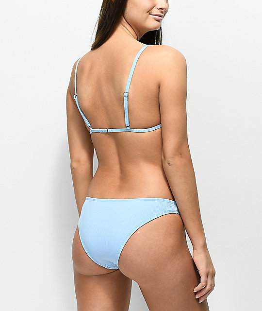 Malibu Ribbed Light Blue Cheeky Bikini Bottom