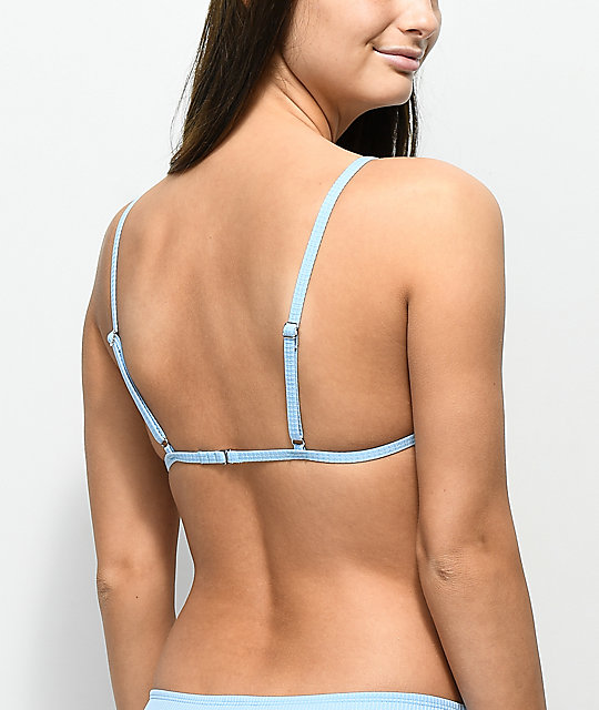 Malibu Ribbed Light Blue Molded Triangle Bikini Top