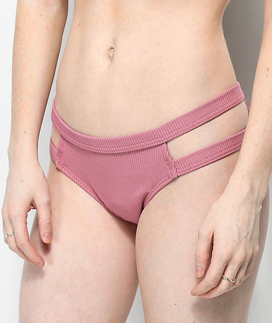 Malibu Ribbed Side Cut Mauve Cheeky Bikini Bottom