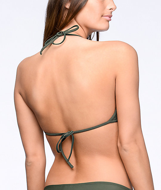 Malibu Surfs Up top de bikini cabestro con cuello alto color verde olivo