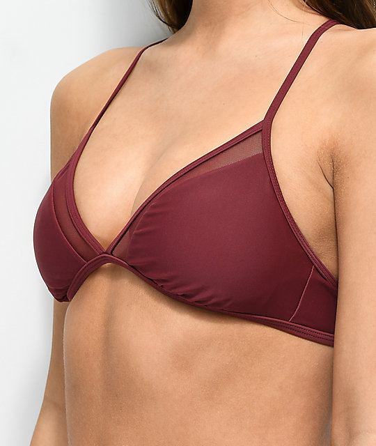 Malibu Way Out Burgundy Mesh Triangle Bikini Top