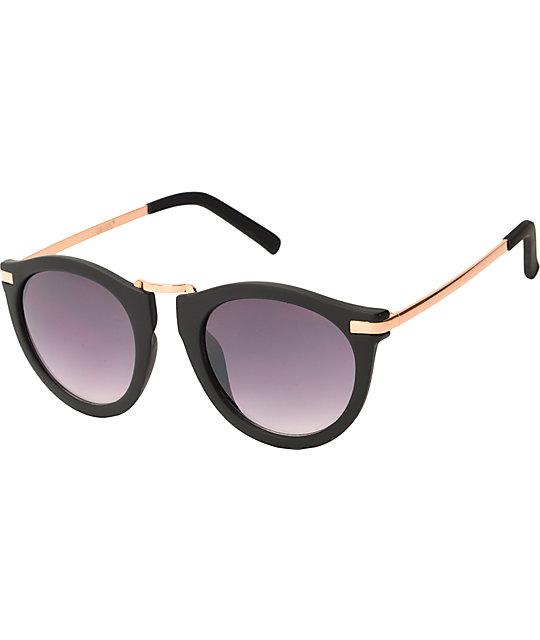 7a72de144 Marie Black & Gold Rounded Cat Eye Sunglasses | Zumiez