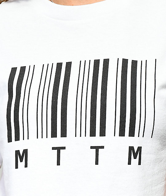 Married To The Mob Barcode White Crop T-Shirt