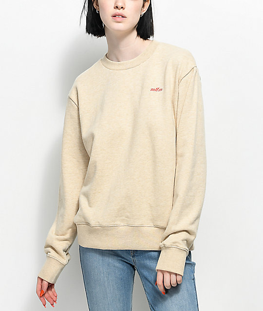 Married To The Mob Bitch Vibes Oatmeal Crew Neck Sweatshirt