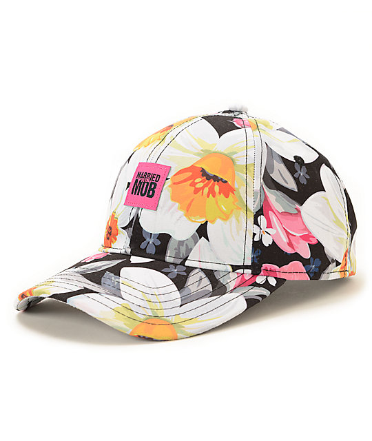 Married To The Mob Tropical Fantasy Floral Baseball Snapback Hat ... b5b341a4608