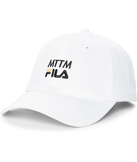 0829a339f1551 Married To The Mob x FILA Logo Woven White Baseball Hat | Zumiez