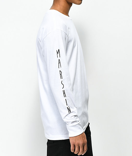 Marshin Vertically Type camiseta blanca de manga larga