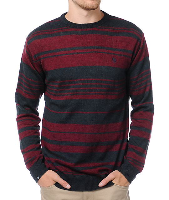 Matix Asymmetric Navy & Maroon Crew Neck Sweater
