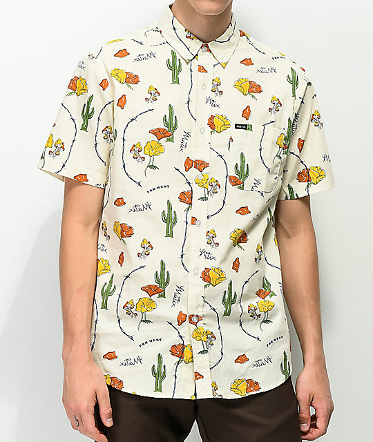 Matix Far West Stone Printed Tan Button Up Shirt