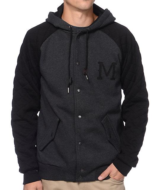 0f1f509df Matix Globetrotter Black   Charcoal Button Up Hooded Varsity Jacket ...