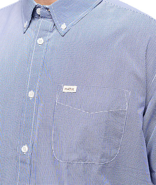 Matix Hyde Blue & White Gingham Plaid Short Sleeve Button Up Shirt