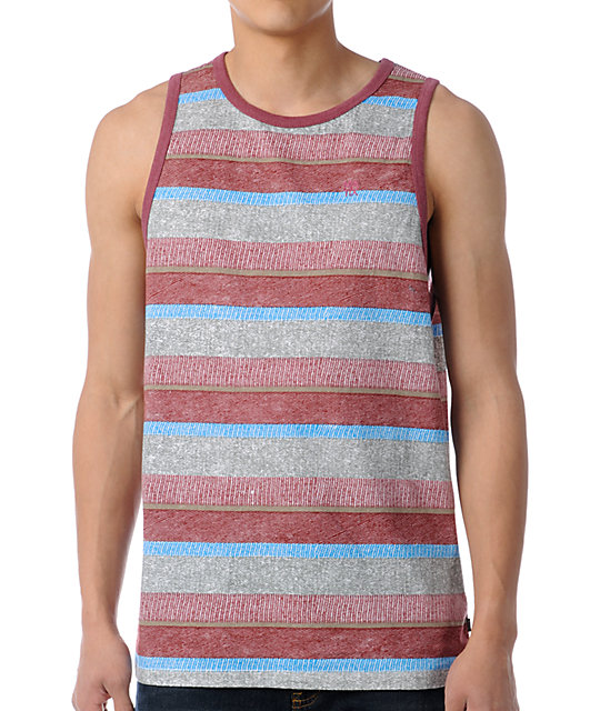 Matix Knit-Knat Grey & Red Stripe Knit Tank Top