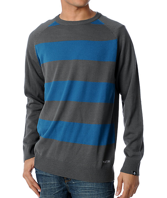 Matix Marc Johnson Big Stripe Blue & Grey Crew Neck Sweater