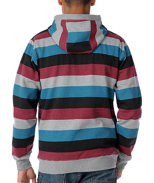 Matix Melby Mens Grey Wide Stripe Thermal Hoodie