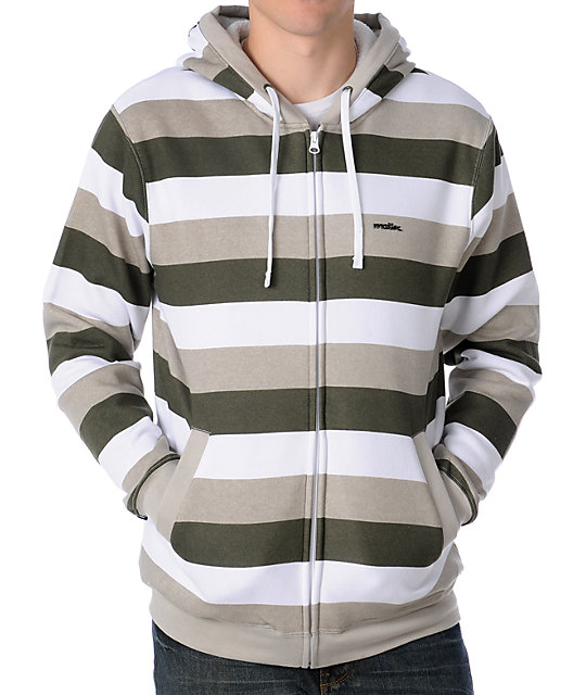 Matix Melby White Striped Sherpa Fleece Hoodie