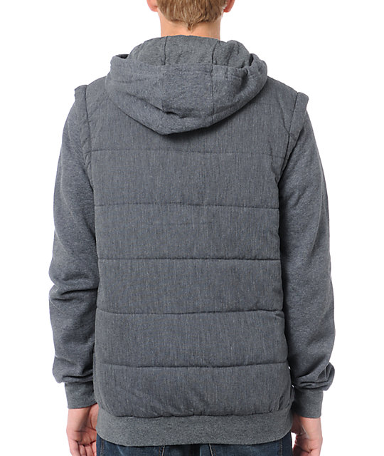 Matix Mens Asher Chambray & Charcoal Hoodie
