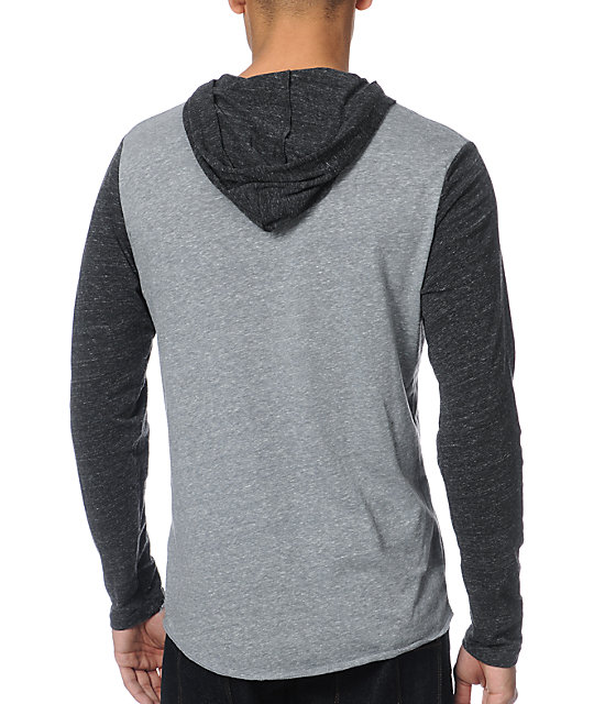 Matix Monostack Charcoal Hooded Henley Shirt