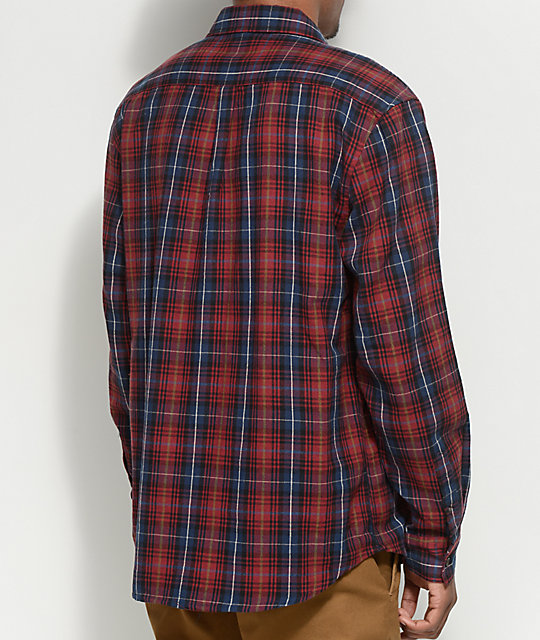 Matix Pismo Burgundy & Navy Button Up Flannel Shirt