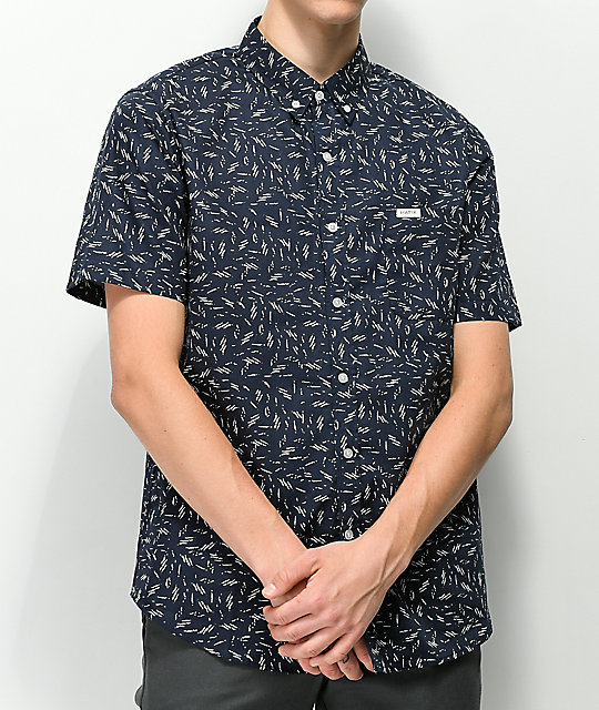 Matix Wavy Navy & White Printed Button Up Shirt