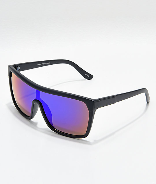 Matte Black & Blue Mirror Shield Sunglasses