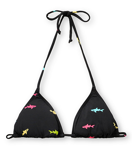 Maui and Sons Straight Shark Triangle Bikini Top
