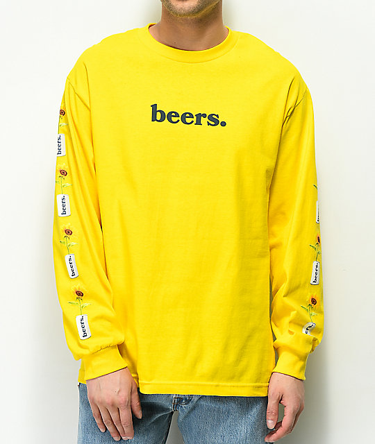 Meet Here For Beers True Love Yellow Long Sleeve T-Shirt