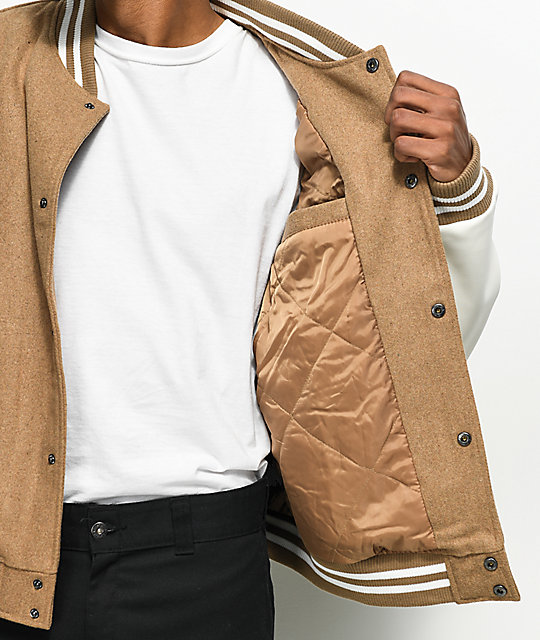 Members Only Camel Wool Varsity Jacket