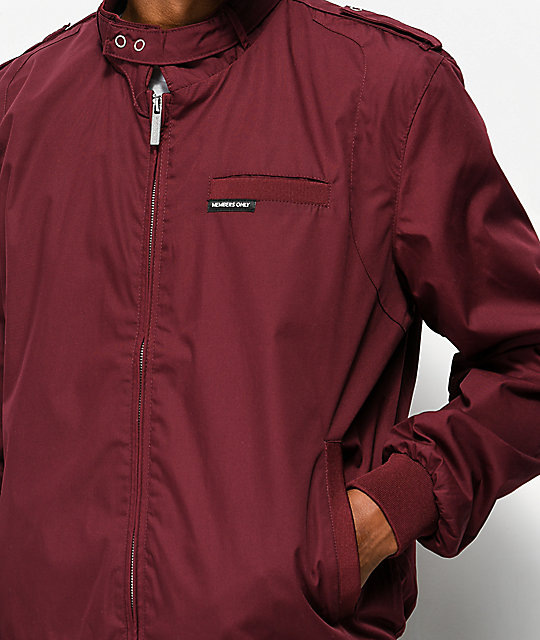 Members Only Iconic Racer Burgundy Jacket