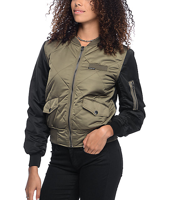 9e75908100cb5b Members Only Olive   Black Quilted Bomber Jacket