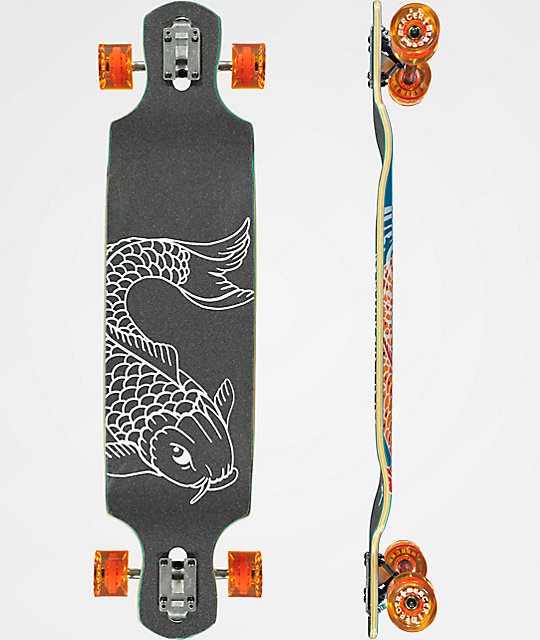 "Mercer Double Koi Ripples 40"" Drop Through Longboard Complete"