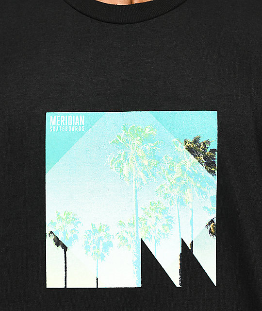 Meridian Skateboards Squared Palms Black T-Shirt