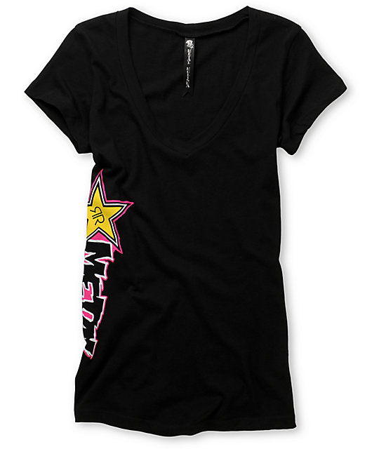 Metal Mulisha & Rockstar Big Gun Black V-Neck T-Shirt