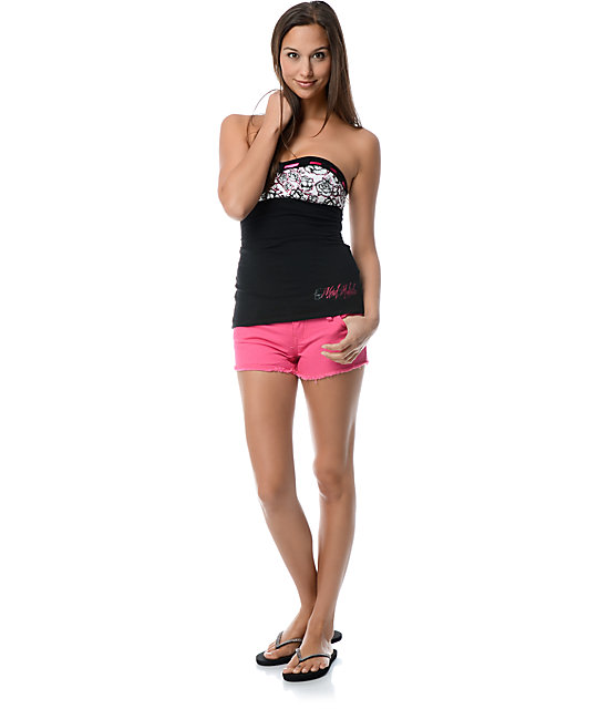 Metal Mulisha Ariella Black & Pink Tube Top