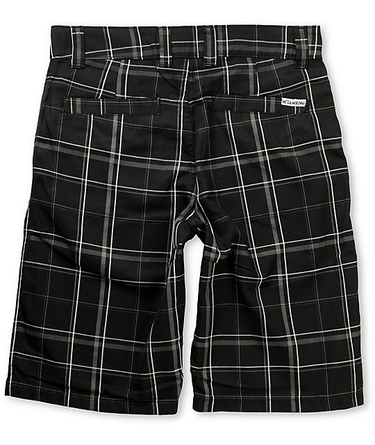 Metal Mulisha Arnold Black Plaid Shorts