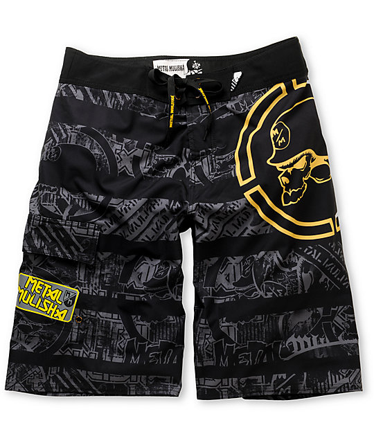 Metal Mulisha Bestow Black 23 Board Shorts