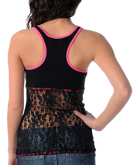 Metal Mulisha Boo Black Lace-Back Tank Top