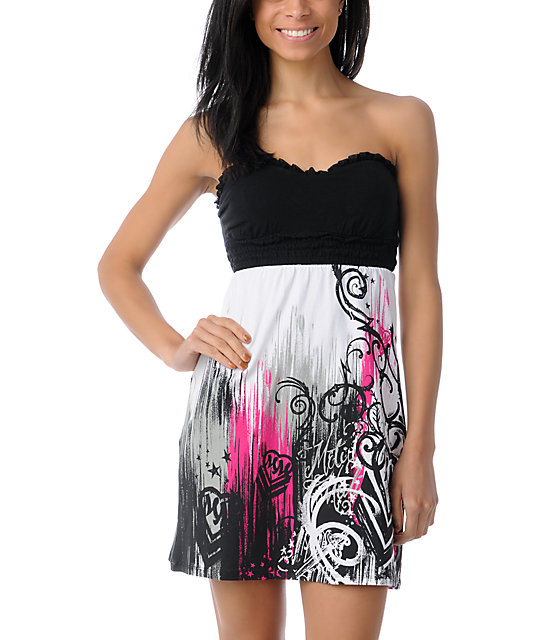 Metal Mulisha Cascade White & Black Strapless Dress