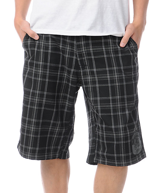 Metal Mulisha Confine Black Plaid Chino Shorts