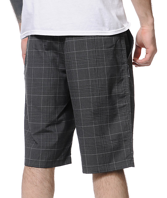 Metal Mulisha Double Up Black Plaid Shorts
