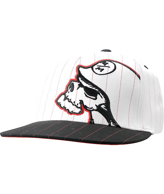 Metal Mulisha Dozer White & Black Pin Stripe Mens Flexfit Hat