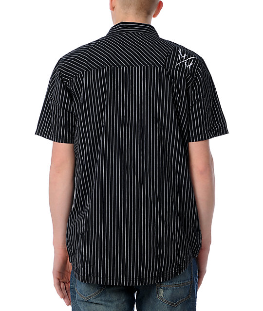 Metal Mulisha Furrow Black Pinstripe Woven Shirt