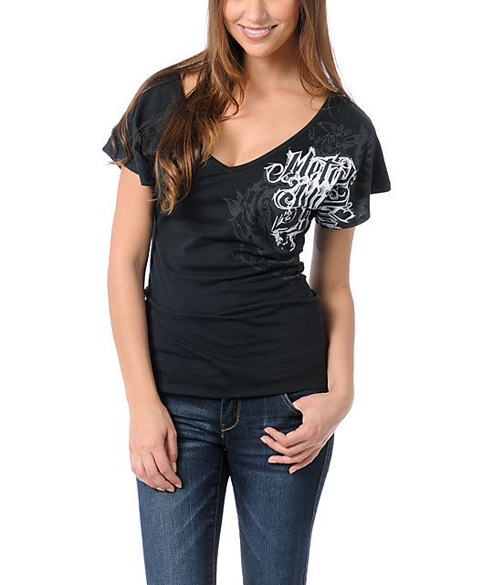 Metal Mulisha Skatter Black V-Neck Dolman Top