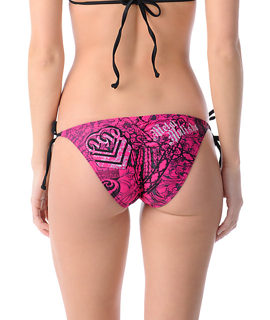 Metal Mulisha Trials Shirred Pink Tie Side Bikini Bottom