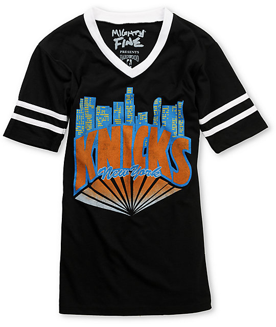 Mighty Fine Knicks City Football V-Neck Black T-Shirt