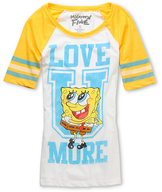 Mighty Fine Love U Sponge Bob Yellow Football T-Shirt