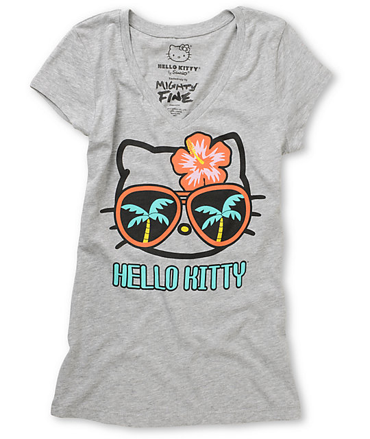 Mighty Fine x Hello Kitty Palm Tree Shades V-Neck T-Shirt